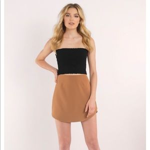 Tobi Camel scoop mini skirt NWOT